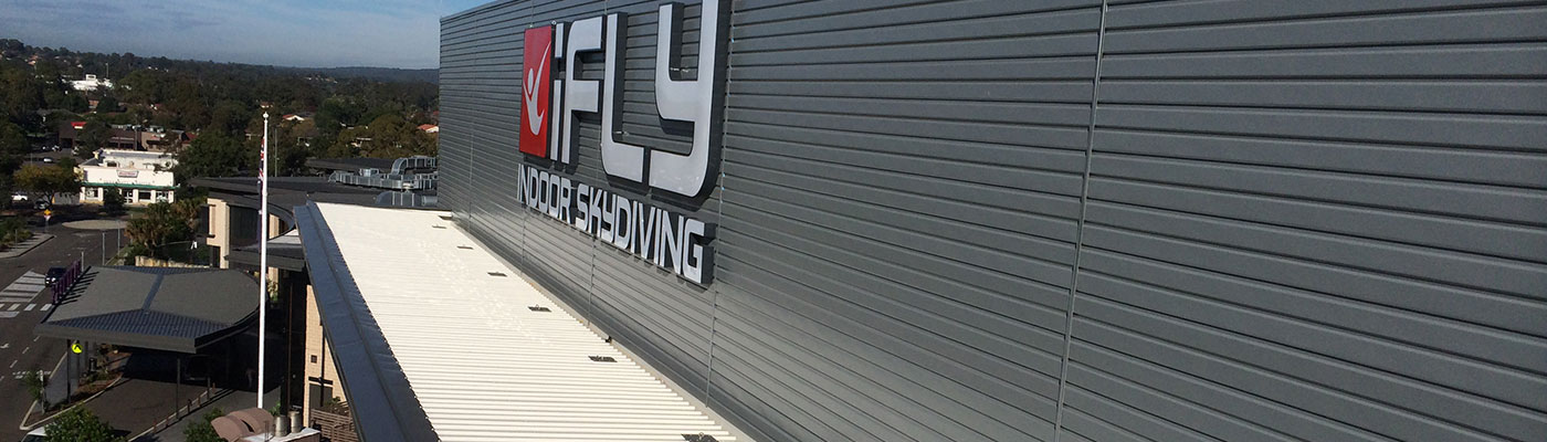 Metal Roof Contracting - iFLY Downunder Penrith Panthers - This new indoor sky diving facility, constructed as a tri-level structure with multiple roofs and aw