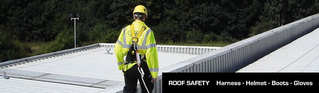 Metal roof services worker safety - Harness, Helmet, Boots, gloves. Quikdeck Roofing Contractor Sydney NSW