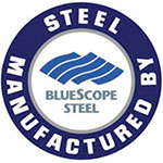 Manufactured by Bluescope Steel logo