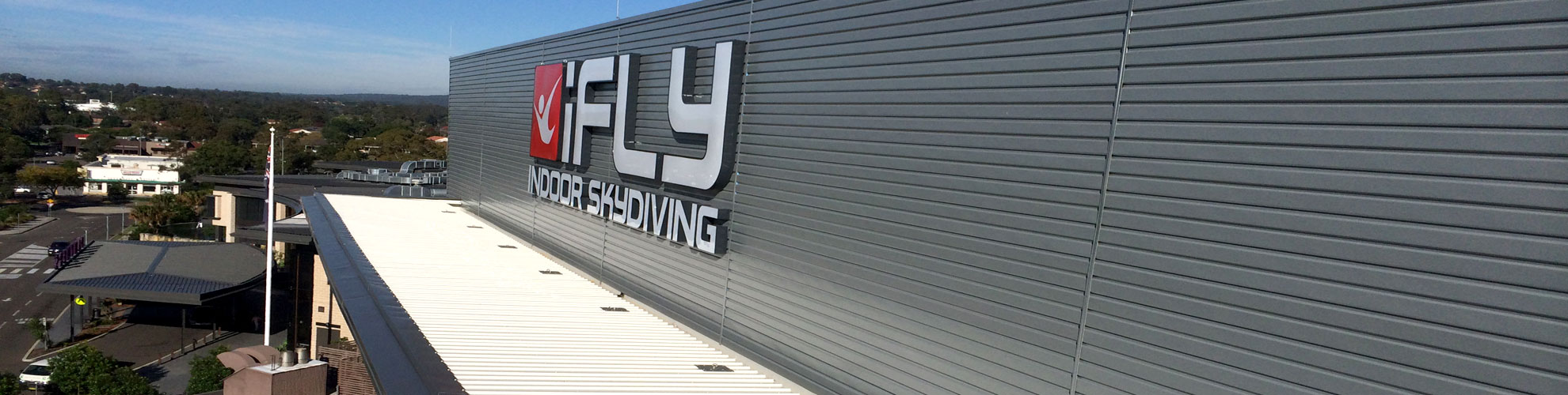 iFly Downunder commercial metal roofing project by Quikdeck Roofing contractors Sydney NSW